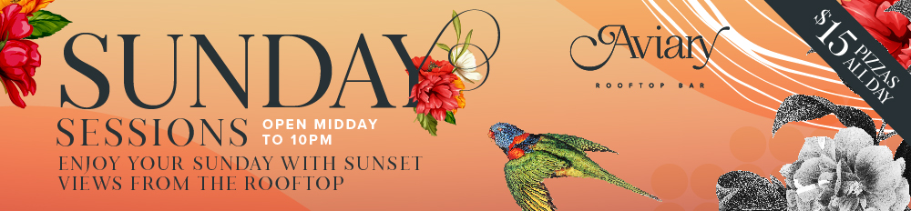 Gold Coast Sunday Session Pizza Special Aviary Rooftop Bar Southport