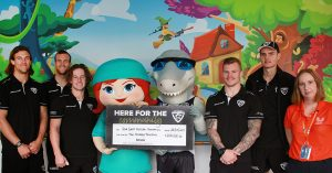 Sharks Donation Milestone with Charity Partner Gold Coast Hospital Foundation