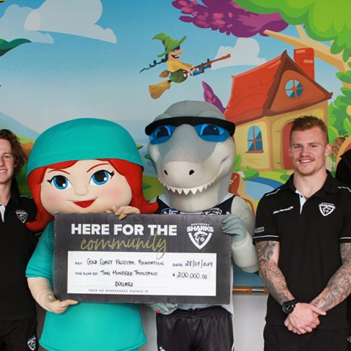 Sharks Donation Milestone with Charity Partner Gold Coast Hospital Foundation