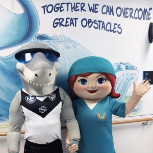 Sharks Donation Milestone with Charity Partner Gold Coast Hospital Foundation and University Hospital Children's ward visit