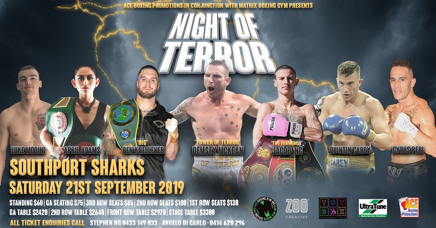 Night of Terror Pro Boxing Event Sharks Events Centre Matrix Gym