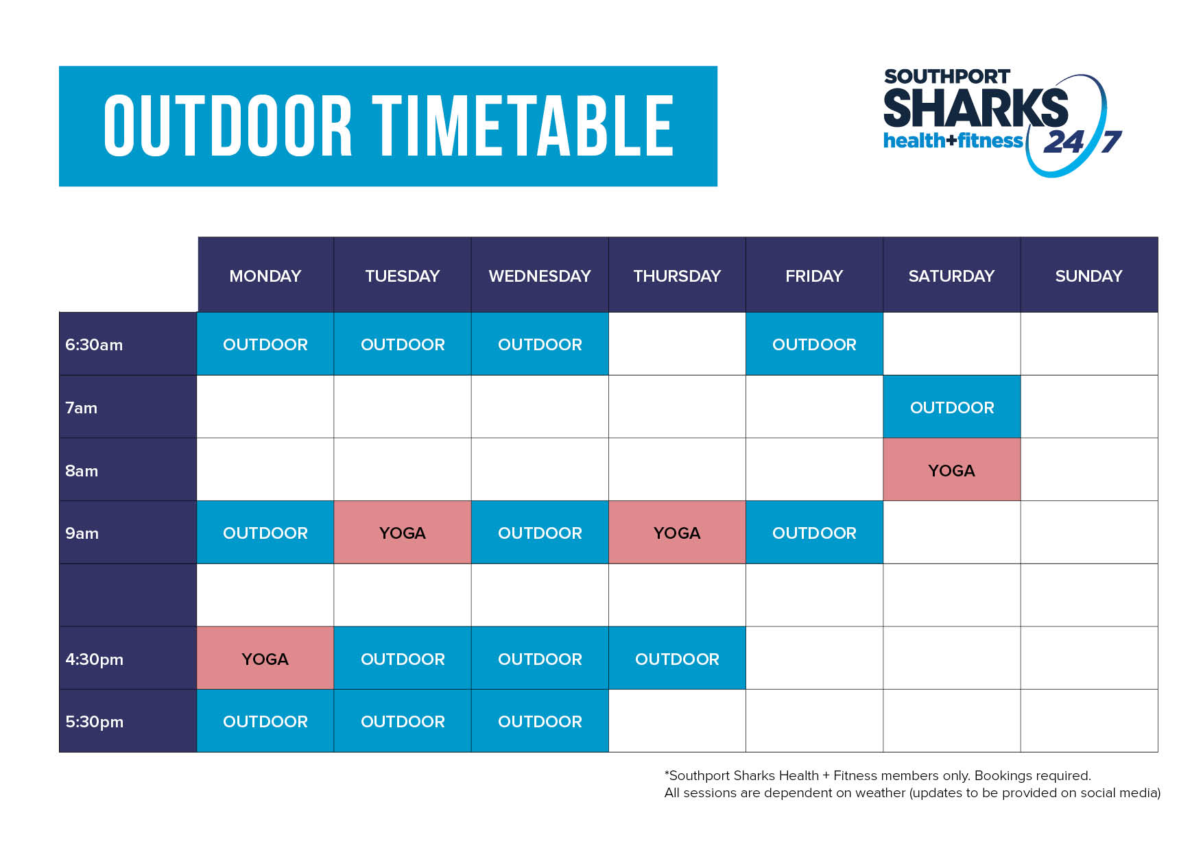 Fitness Centre Outdoor Timetable