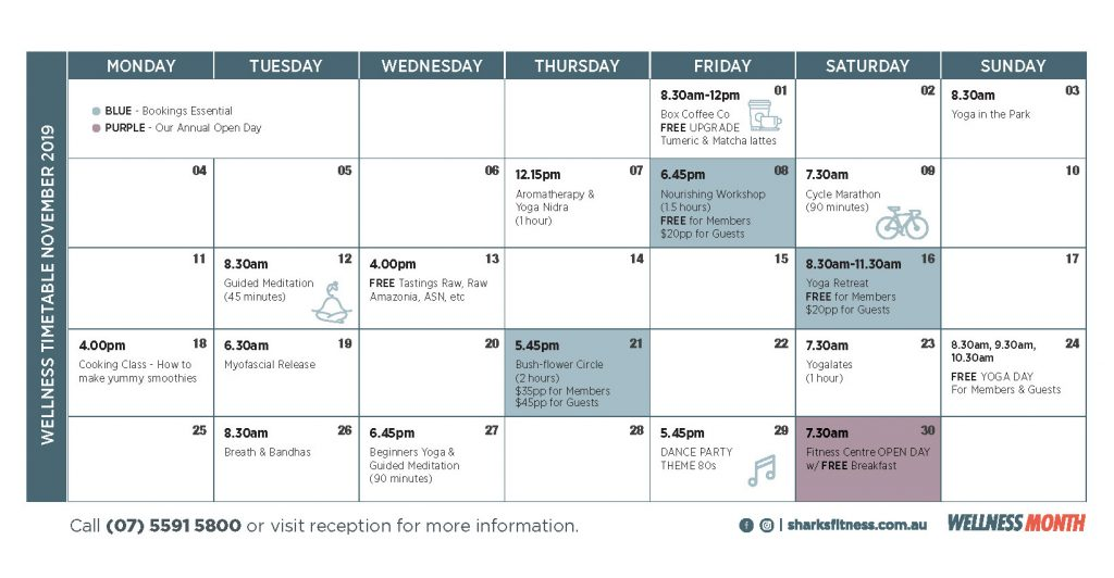 Southport Sharks Health and fitness Wellness Month Calendar